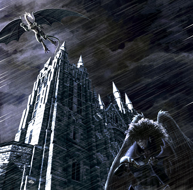 Fantasy art / comic illustration 'Acid Rain': A falcon cyborg stands outside a cathedral in the rain