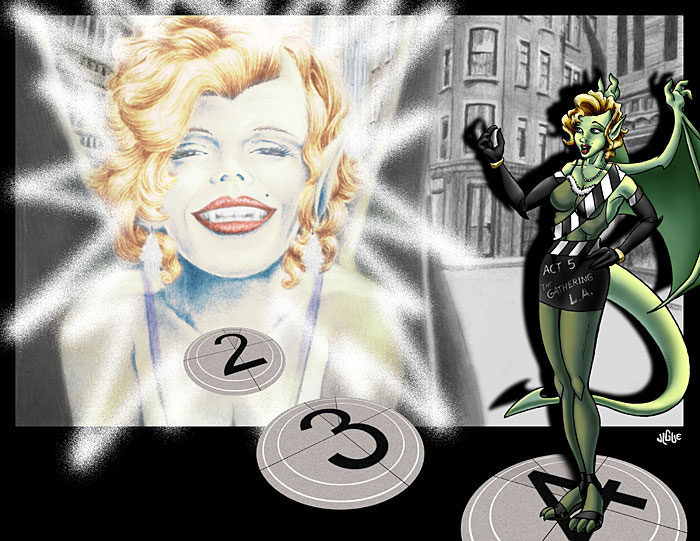 Fantasy art / comic illustration 'Act 5': A gargoyle who looks like Marilyn Monroe from Disney's Gathering of the Gargoyles