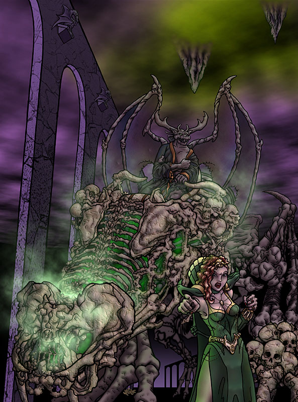 Fantasy art / comic illustration 'After Them!': Lord Critkul, atop a skeletal beast, receives commands from Demon Queen Centura