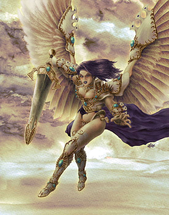 Fantasy art / comic illustration 'Akroma, Angel of Wrath': Art of Akroma, Angel of Wrath, from Magic: the Gathering (skeakroma)