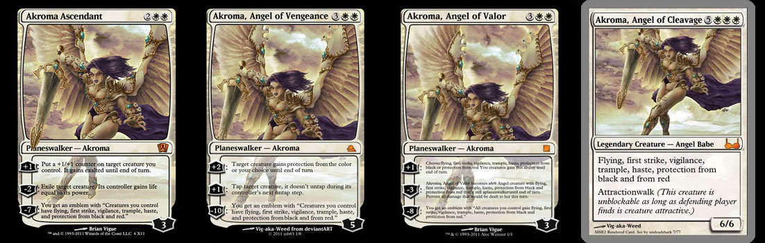 Fantasy art / comic illustration 'Akroma Angel Magic Cards': Fan-made Magic Cards: Akroma Ascendant, Angel of Vengeance, Angel of Valor, Angel of Cleavage