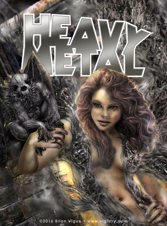 Fantasy art / comic illustration 'Darkness: Heavy Metal Edition': Sexy necromancer and gargoyle Heavy Metal cover design