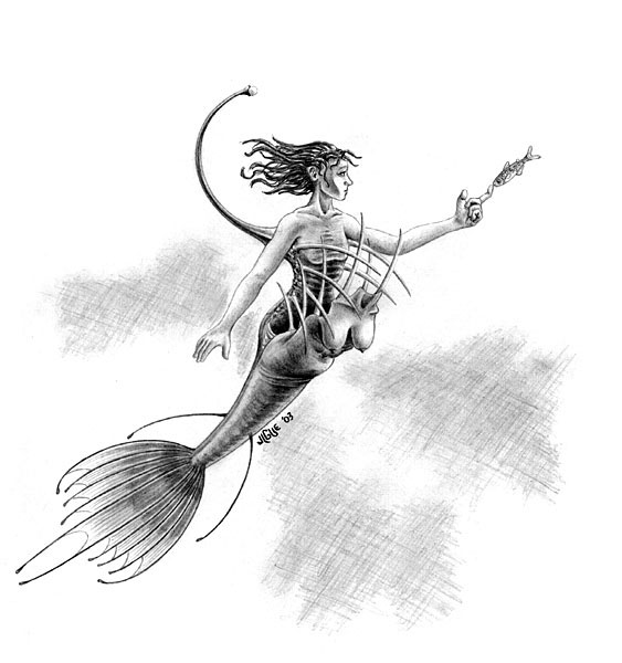 Fantasy art / comic illustration 'Anglermaid': A deep-sea angler mermaid