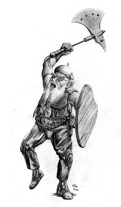 Fantasy art / comic illustration 'Angry Stumpy': Stumpy the dwarf angrily swings his axe