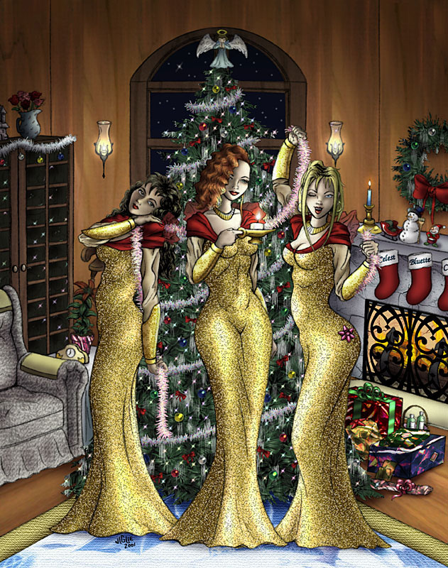 Fantasy Art and Comics: Bluette, Celest, and Centura celebrate an elegant Christmas with a warm fireplace and huge tree