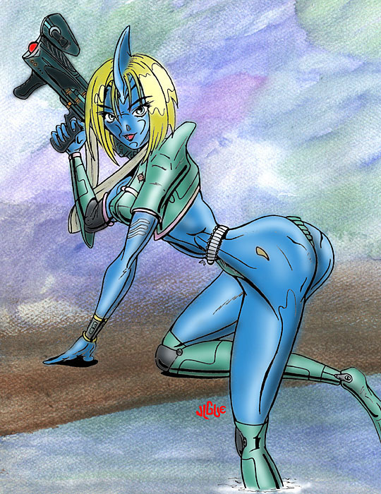 Fantasy art / comic illustration 'Bluestreak': A dolphin girl named Bluestreak