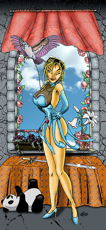 Fantasy art / comic illustration 'Bluette Again': Busty damsel Bluette strikes a pose inside her castle