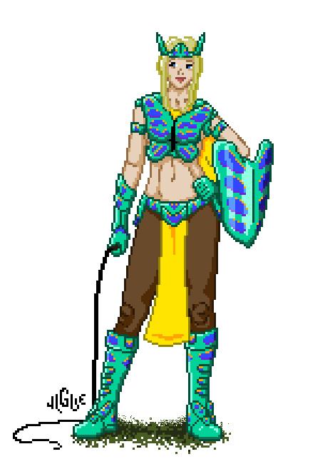 Fantasy art / comic illustration 'Bluette Butterfly Warrior': Bluette is 16-bit glory