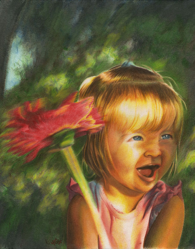 Fantasy art / comic illustration 'Brooklin': A little girl waving a flower