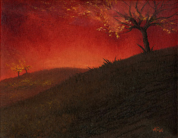 Fantasy art / comic illustration 'Burnin' Up the Mainstream': A landscape on fire