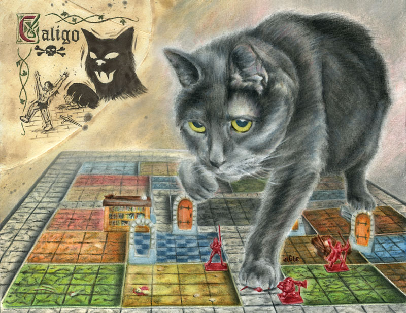 Fantasy Art and Comics: Caligo the cat tromps over a Heroquest game board dungeon