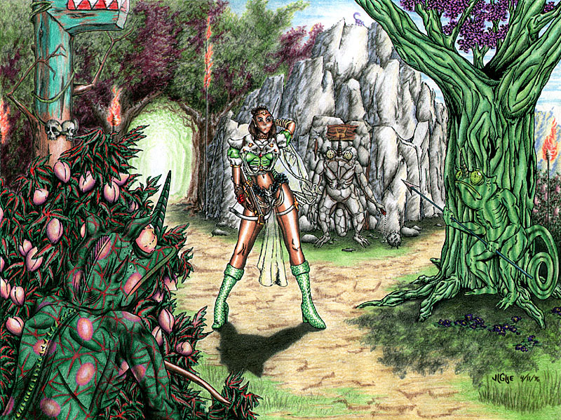 Fantasy art / comic illustration 'Chamelland': A warrioress intrudes upon a tribe of chameleon men