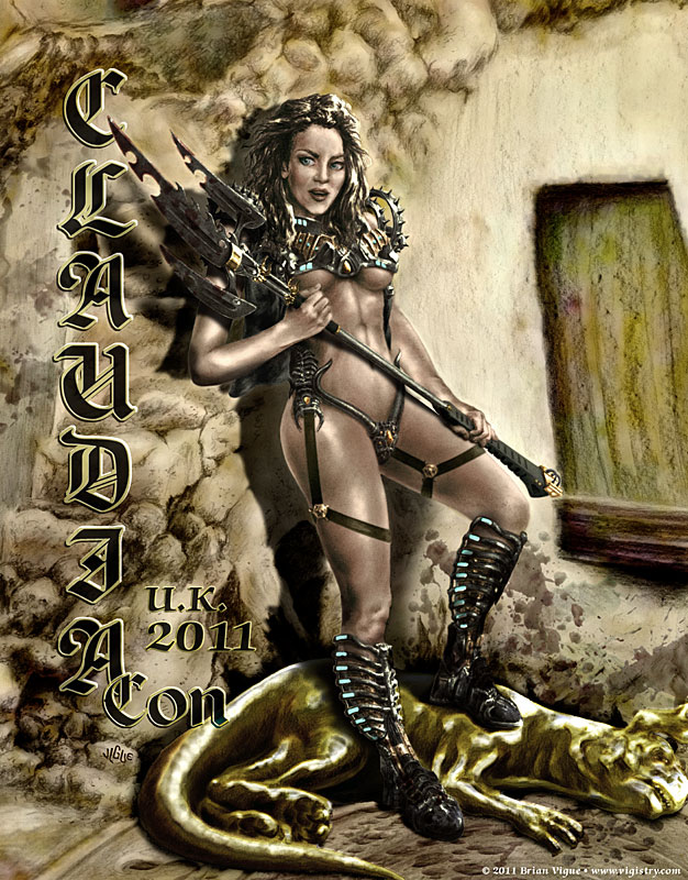 Fantasy art / comic illustration 'Claudia': Actress Claudia Christian in Heavy Metal style gear slaying a gold beast