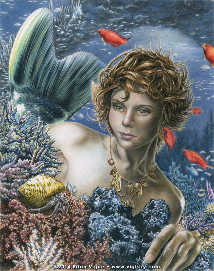 Fantasy art / comic illustration 'The Mermaid's Den': A mermaid in a coral reef observes a hermit crab