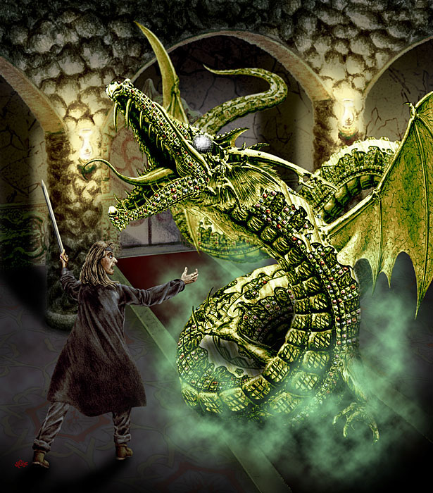 Fantasy art / comic illustration 'Diamond Eye': An unwitting explorer confronts a gold dragon with jeweled scales