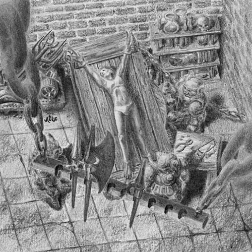 Fantasy art / comic illustration 'Divinity Sweatshop': Orcs popping the joints of a prisoner damsel on a torture rack.
