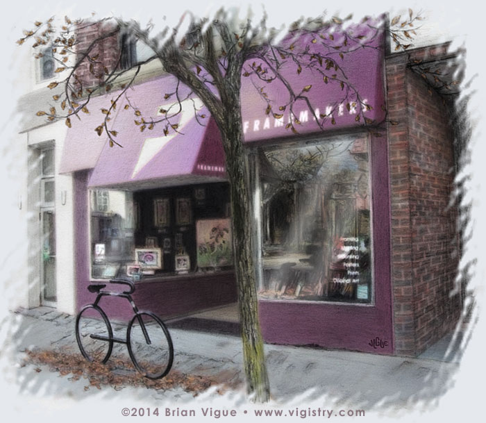 Fantasy art / comic illustration 'Store Sweet Store': The Framemakers in Downtown Waterville Maine