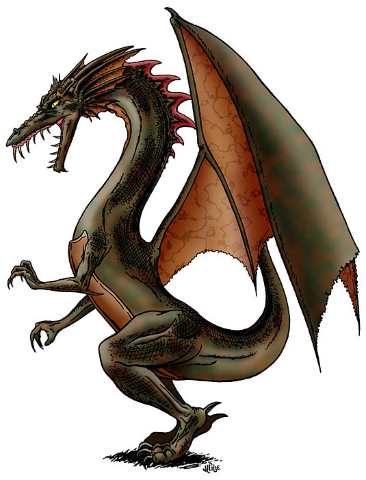 Fantasy art / comic illustration 'Green Dragon '99': A green dragon, comic style