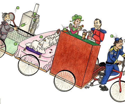 Fantasy art / comic illustration 'Riding in Style': Good vs. Medieval riding a limo-bike on their way to see the king