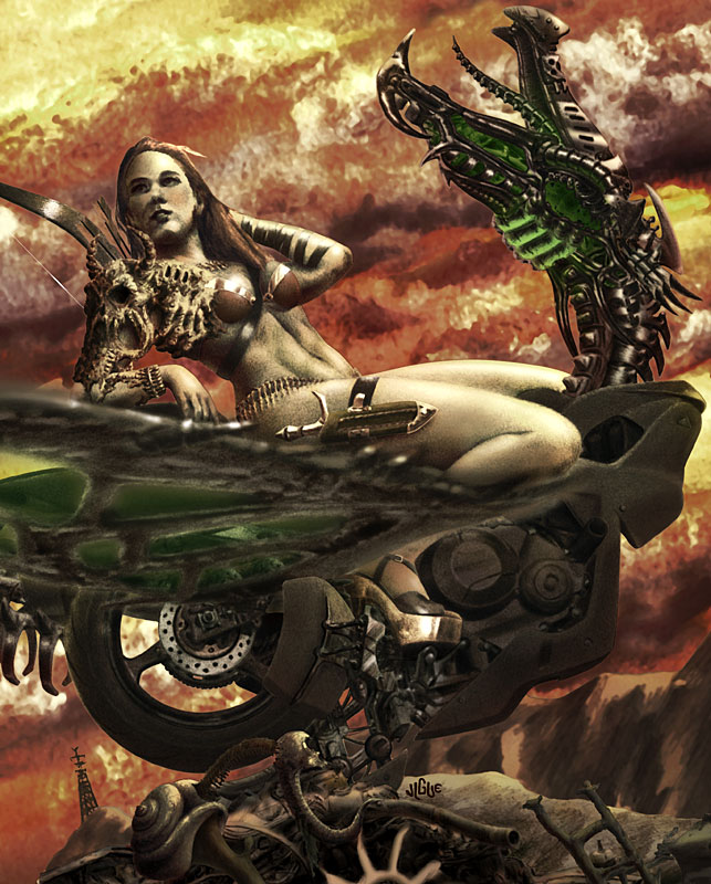 Fantasy art / comic illustration 'Heavy Metal Valkyrie': A warrioress reclines on her motorcycle-dragon, Heavy Metal style