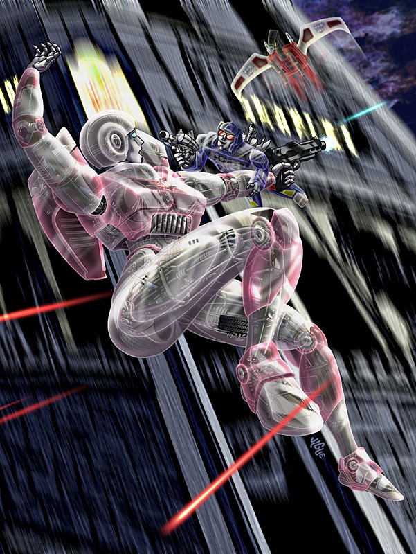 Fantasy art / comic illustration 'I-Arcee': Transformers' Arcee, Rumble, and Laserbeak in free-fall, laser-blasting combat