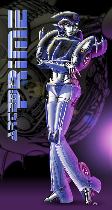 Fantasy art / comic illustration 'I-Artemis Prime': I-bot Transformer, Artemis Prime