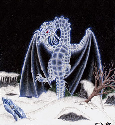 Fantasy art / comic illustration 'Ice Dragon': A dragon with ice crystal scales, hovering in a snowy field