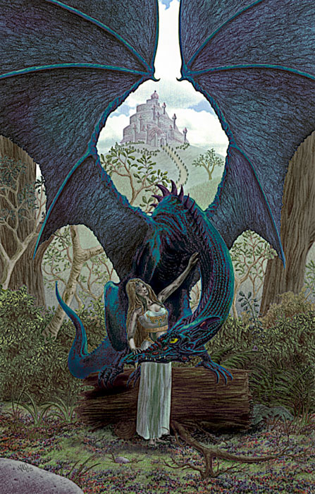 Fantasy Art and Comics: A damsel with her peacock dragon