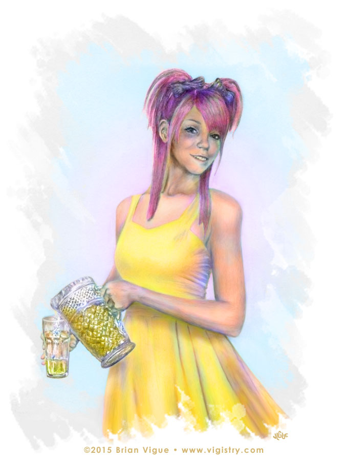 Fantasy art / comic illustration 'Lemonade Girl': A cute girl with pink hair and yellow dress pouring lemonade