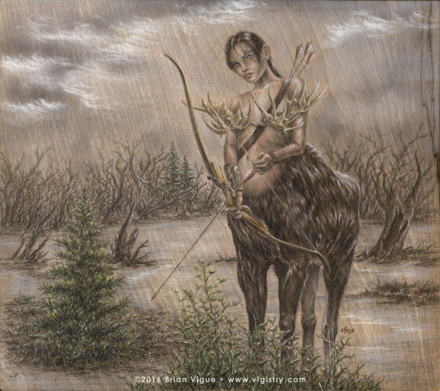 Fantasy art / comic illustration 'Her Rack is the Last Thing You'll See': A Maine moose centaur archer warrior woman