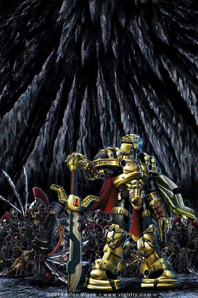 Fantasy art / comic illustration 'MechKnight Chronicles: Yo Roy, Behind You!': Roy and a skeleton warrior army from Dinosaur Games' MechKnight Chronicles: Knightfall