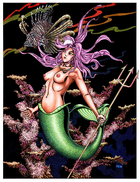 Fantasy art / comic illustration 'Mojarra': A mermaid holding a trident