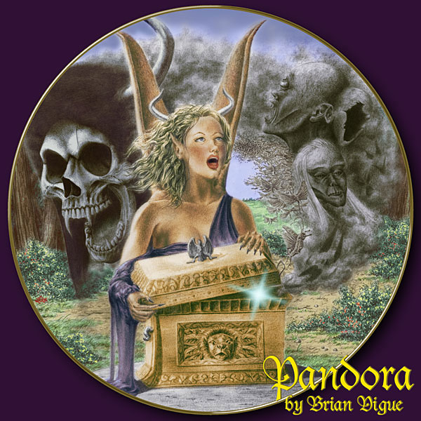 Fantasy art / comic illustration 'Pandora Plate': Pandora opens the cursed box and transforms into a gargoyle creature