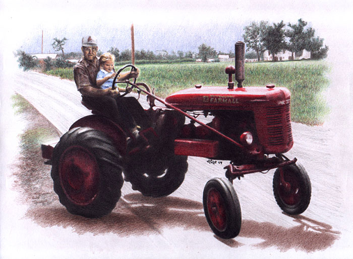 Fantasy art / comic illustration 'Papa & Amy': Amy and her papa riding a Farmall tractor