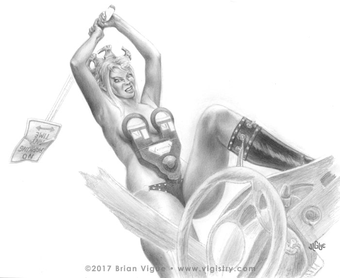 Fantasy Art and Comics: Bluette is a sexy post-apocalyptic meter maid with parking meter bustier and no parking sign