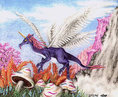 Fantasy art / comic illustration 'Purple Dragon': A purple unicorn dragon