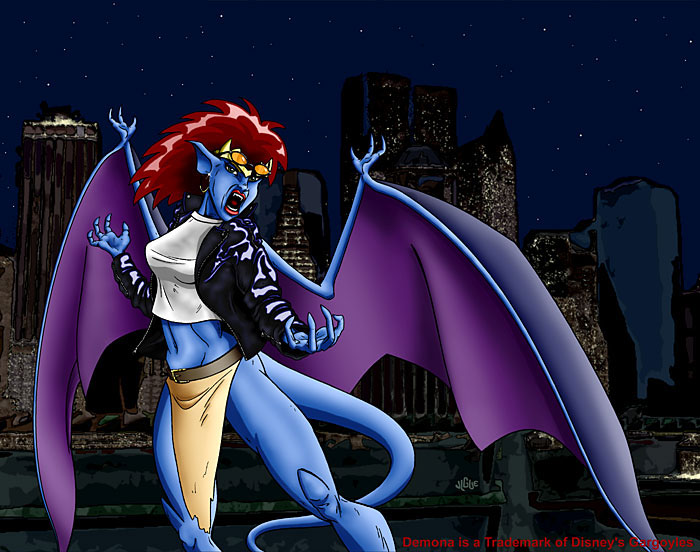 Fantasy art / comic illustration 'Raging Demona': Demona, from Disney's Gargoyles