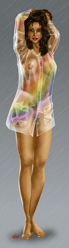 Fantasy art / comic illustration 'Rainbow Gear': Celest wearing a sexy transparent raincoat