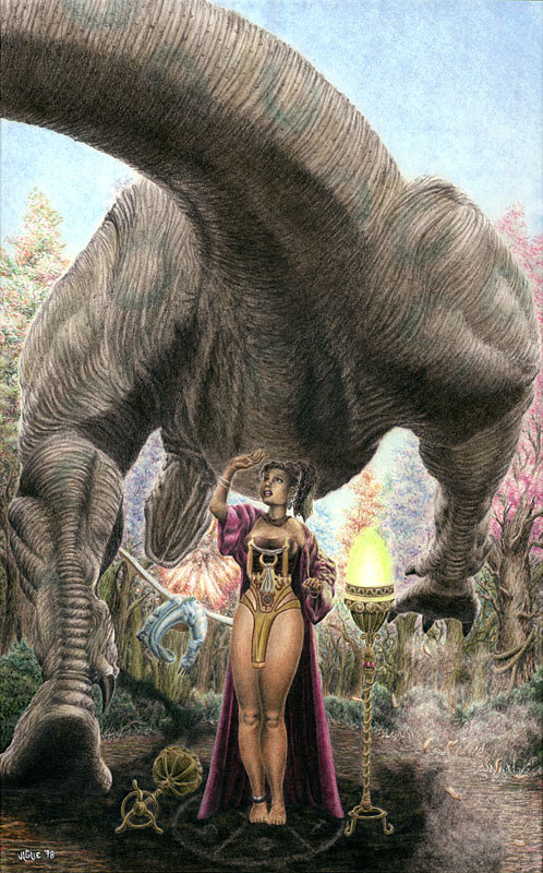 Fantasy art / comic illustration 'Riot Woods': A sorceress cowers as a T-rex tromps over her altar