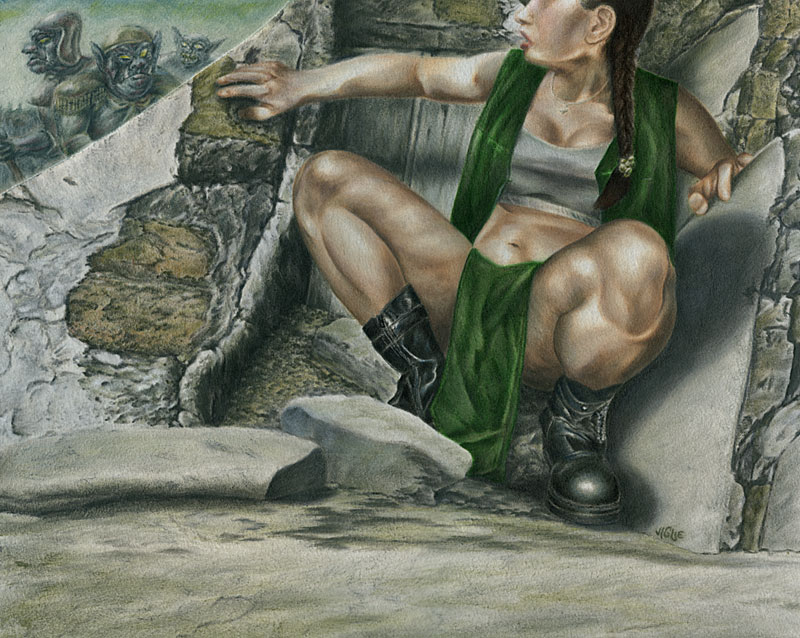 Fantasy art / comic illustration 'Seams Like Danger': A panicked warrioress crouches behind a destroyed bunker as orcs approach