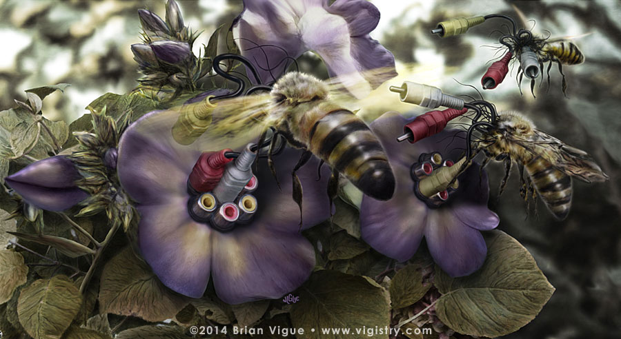 Fantasy art / comic illustration 'Second Nature': honeybees with audio/video cables connect with electronic flowers
