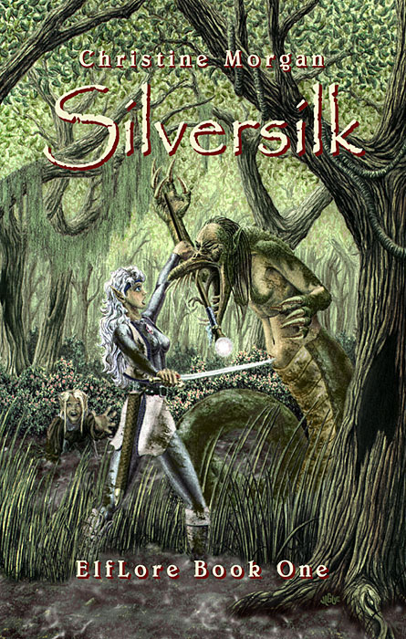 Fantasy art / comic illustration 'Silversilk': Elfin warrioress Ariana Mirida fights an alligator snake woman in Silversilk