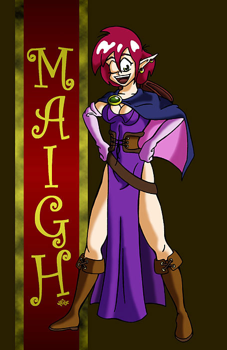 Fantasy art / comic illustration 'Maigh': Maigh, fan-made character from the Slayers series