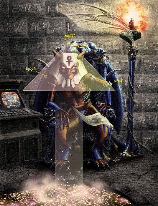 Fantasy art / comic illustration 'Temple of the Jackal': A jackal pharaoh stares into a holographic pyramid