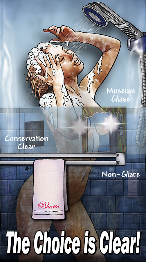 Fantasy art / comic illustration 'The Choice is Clear': Bluette showering behind a door of framers' glass