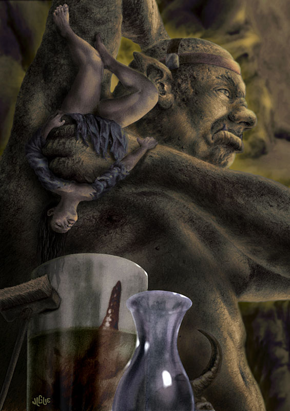 Fantasy art / comic illustration 'The Pits': An ogre freshens his armpits with the scent of a helpless damsel