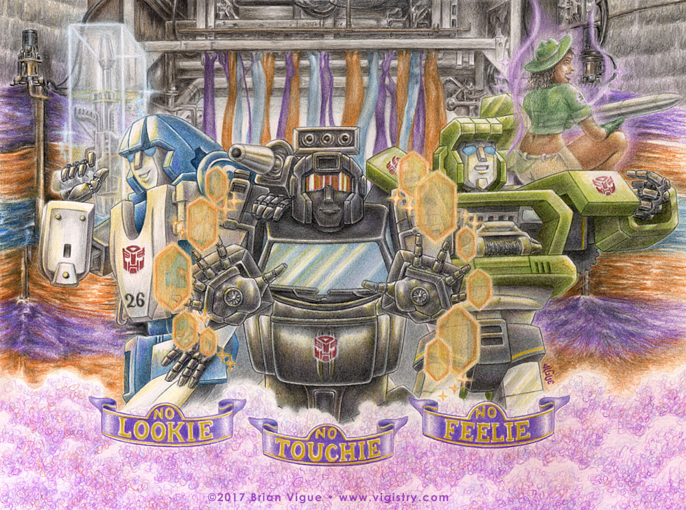 Fantasy art / comic illustration 'Transformers: No Lookie, No Touchie, No Feelie': Transformers Mirage, Trailbreaker, Hound, and a sexy park ranger