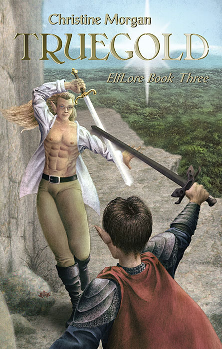 Fantasy art / comic illustration 'Truegold': Elfin warriors duel with swords in Truegold
