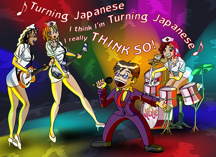 Fantasy art / comic illustration 'Turning Japanese': Bluette, Celest, and Centura playing in a J-rock band
