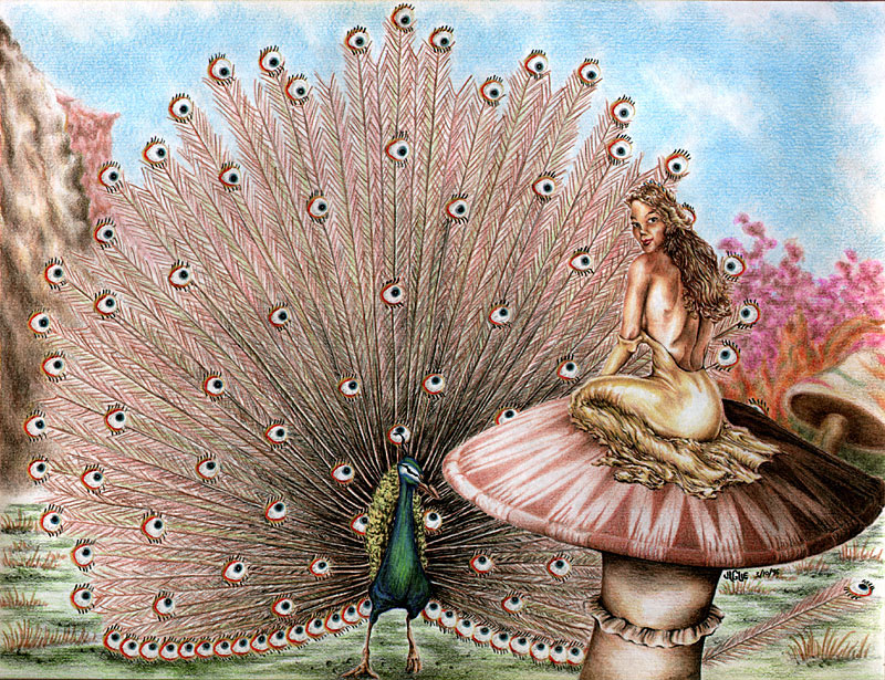 Fantasy art / comic illustration 'Turning Tail': A golden-gowned princess observed by a peacock's hundred eyes